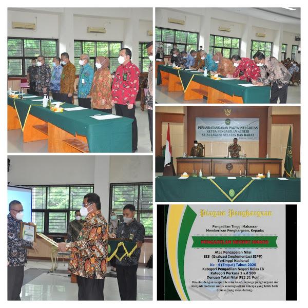 Penandatangan Pakta Integritas dan Pembinaan oleh Ketua Pengadilan Tinggi Makassar 26 maret 2021