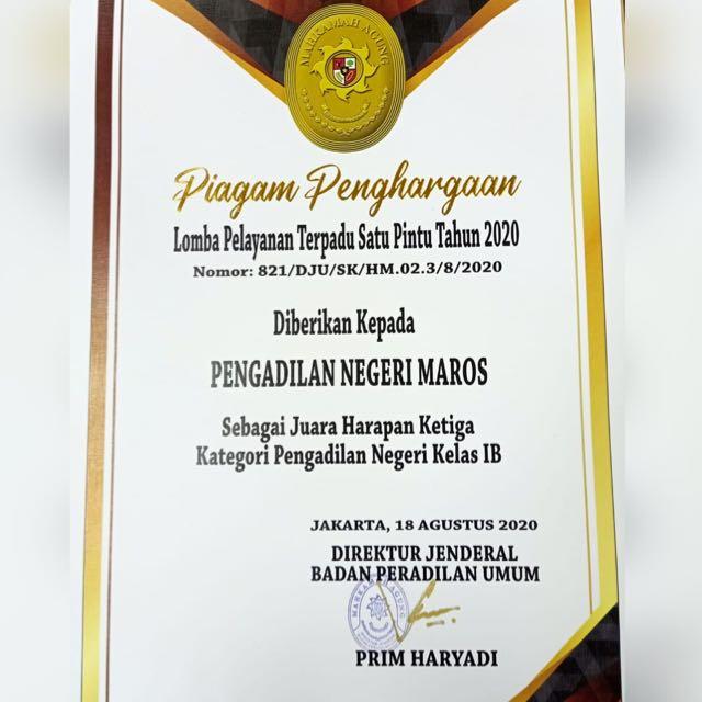 Pengadilan Negeri Maros Meraih Juara Harapan III dalam Lomba Penilaian PTSP Kategori Kelas IB
